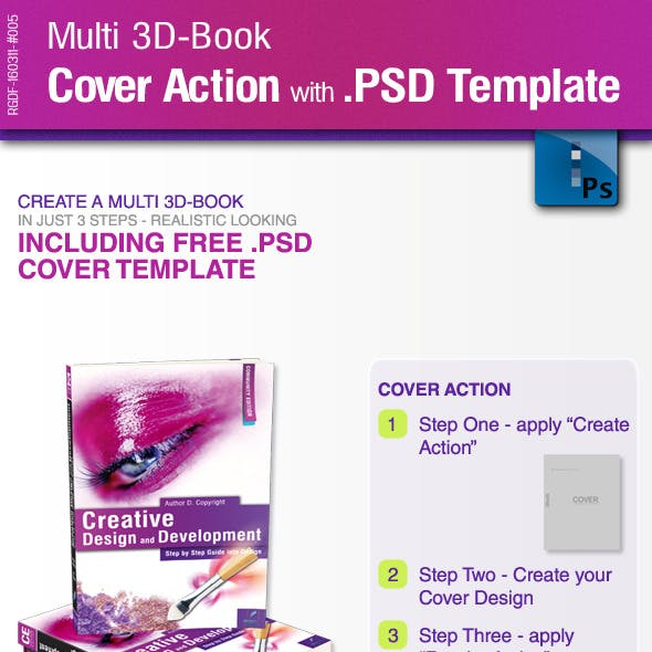 Multi 3D-Book Cover Action with .PSD-Template