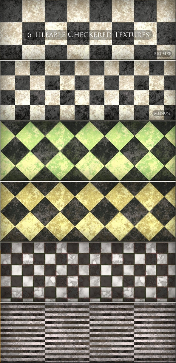 6 Tileable  Checkered Textures Patterns - Miscellaneous Textures / Fills / Patterns