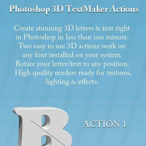 Two Photoshop 3D Text Maker Actions