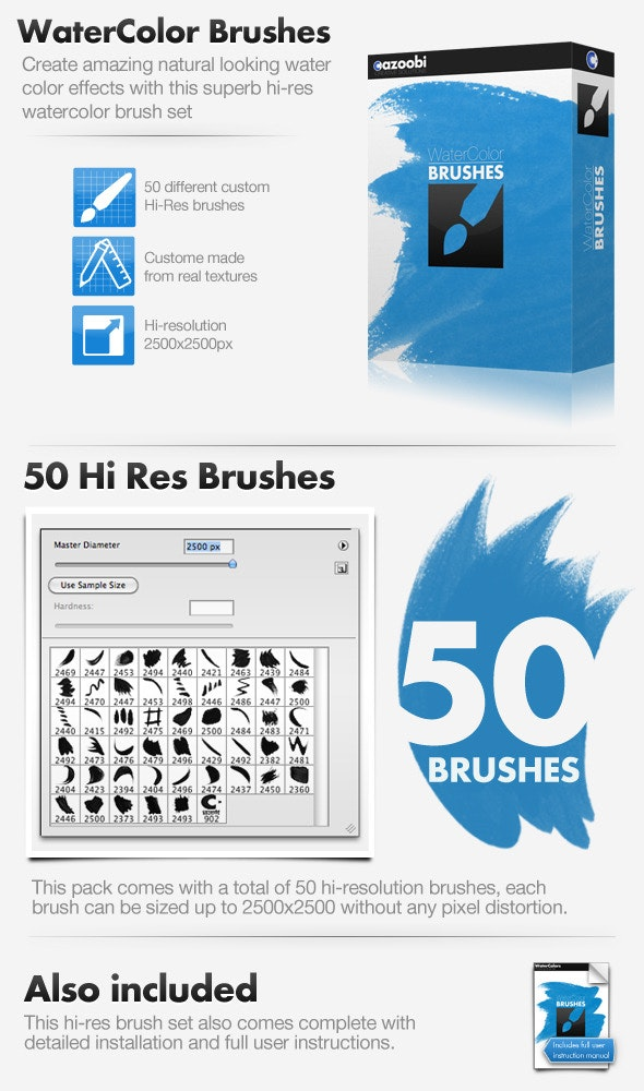 50 Hi Res Watercolor Brushes - Brushes Photoshop