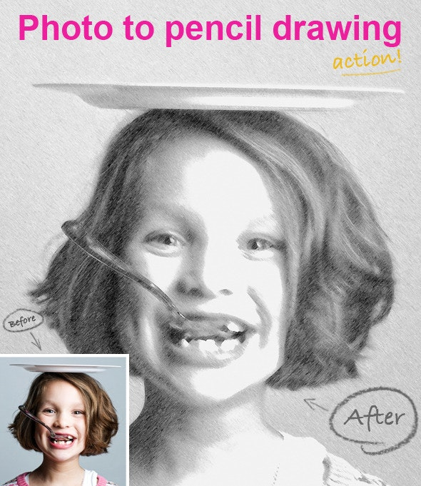 Photo To Pencil Drawing. PS ACTION. - Photo Effects Actions
