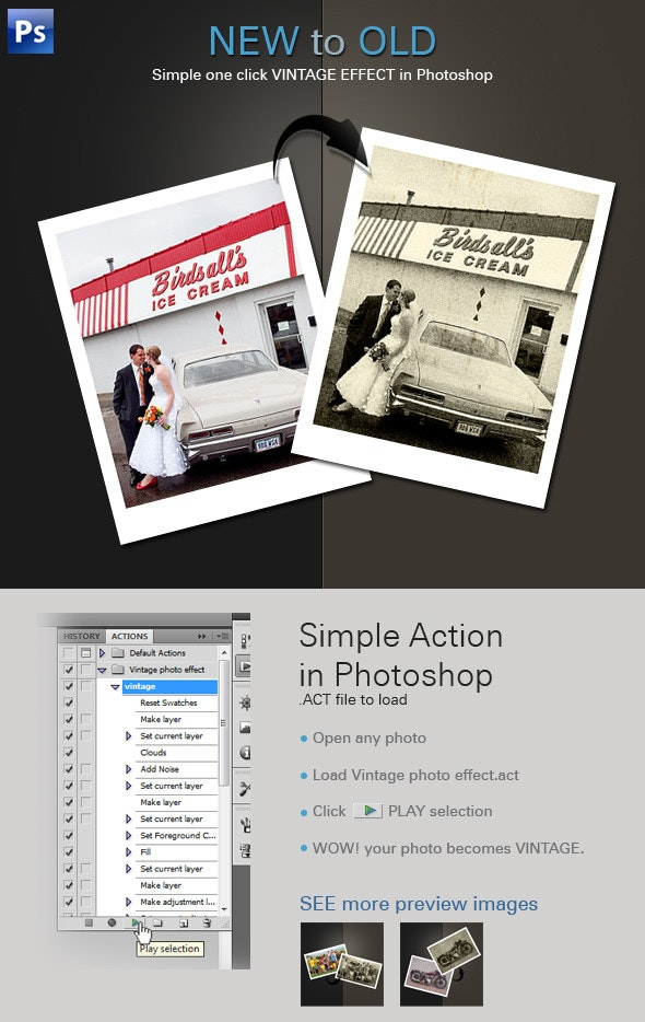 Vintage Photo Effect - Photo Effects Actions
