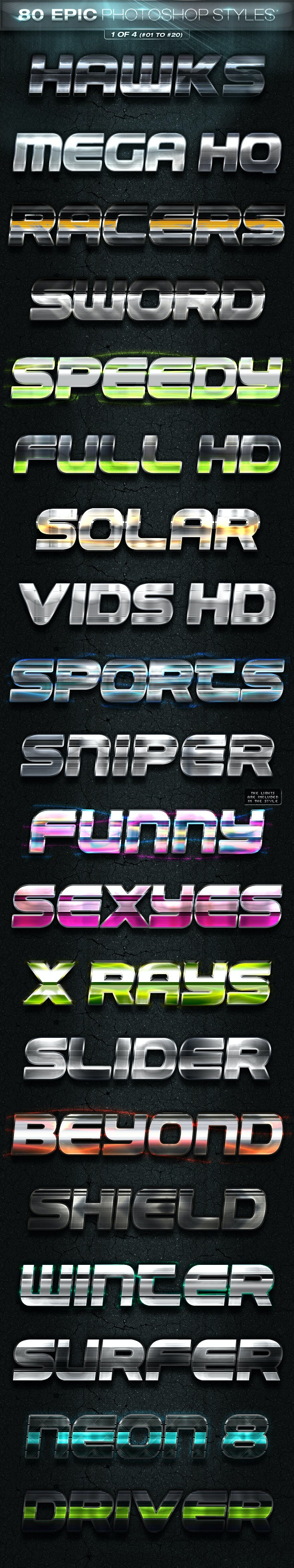 80 EPIC Photoshop Styles 1 of 4 - Text Effects Styles