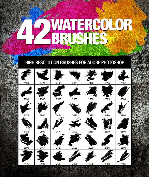 42 Watercolor Brushes - Artistic Brushes