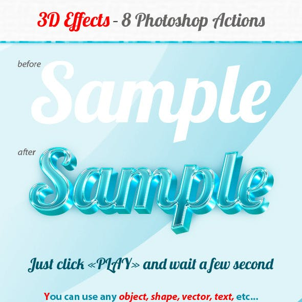 3D Effects - 8 Photoshop Actions