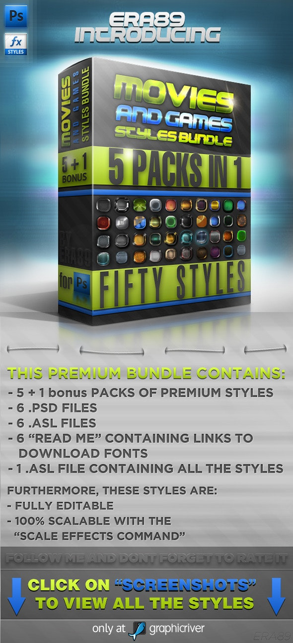 Movies & Games Styles Premium BUNDLE - Text Effects Styles
