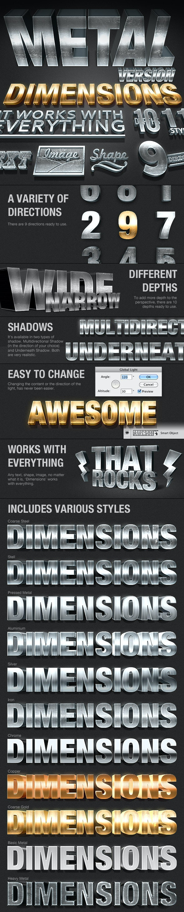 Dimensions Metal Version - 3D Generator Action - Text Effects Actions
