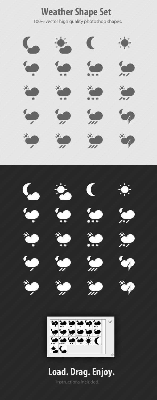 Weather Photoshop Custom Shapes Set - Symbols Shapes