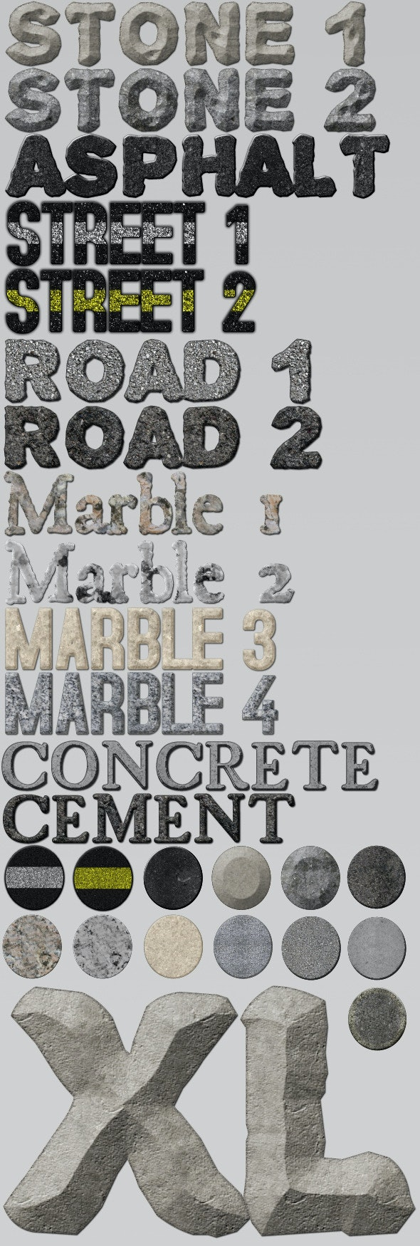 13 Hard Textured Styles - Text Effects Styles