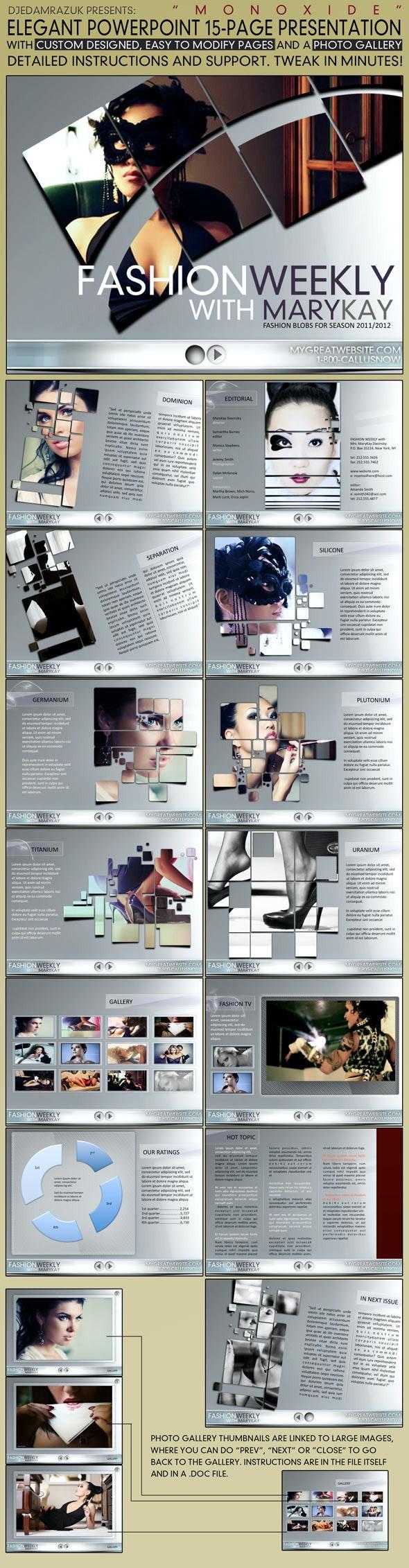 """15 page Elegant PowerPoint template """"Monoxide""""  - PowerPoint Templates Presentation Templates"""
