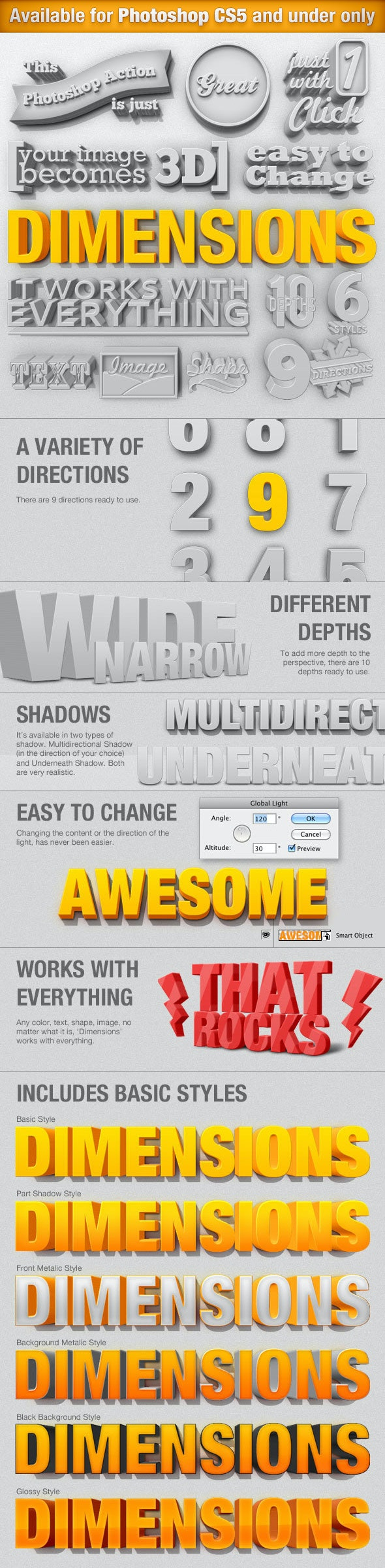 Dimensions - 3D Generator Action - Text Effects Actions