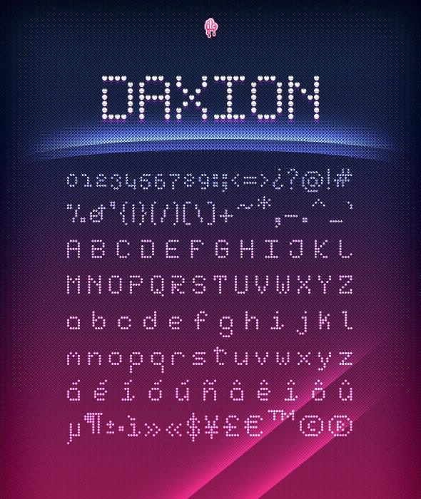 Daxion Dotted Font - Futuristic Decorative