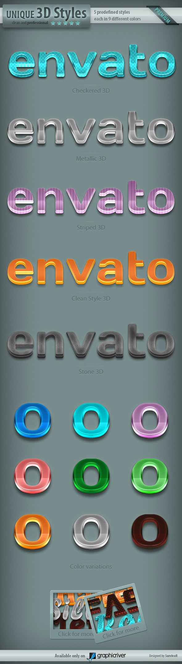 3D Text Styles - Part 2 - Text Effects Styles