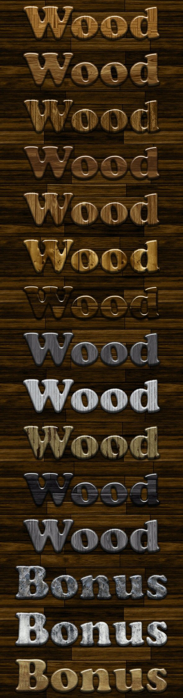 Glossy Wood Photoshop Styles v2 - Text Effects Styles