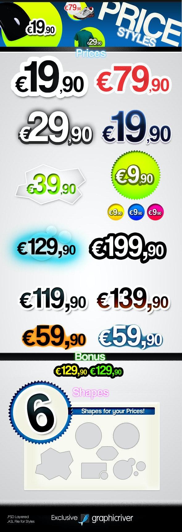 Prices - Text Styles - Styles Illustrator