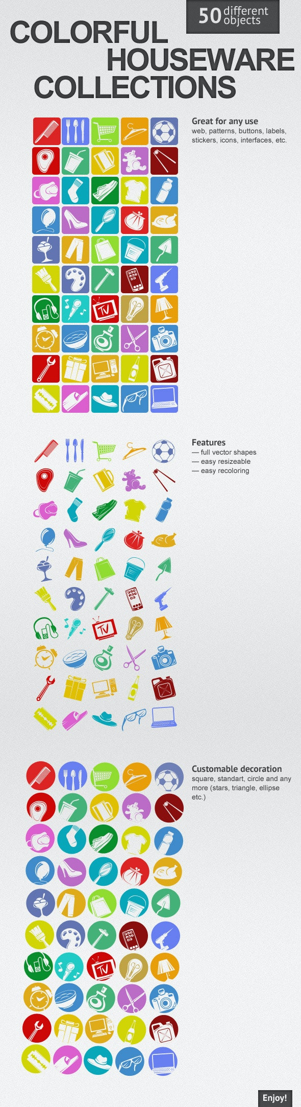 Colorful Houseware Collections - Symbols Shapes