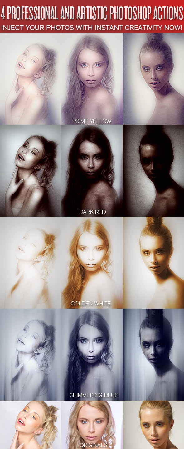 4 Professional Photo Looks - Photoshop Actions - Photo Effects Actions