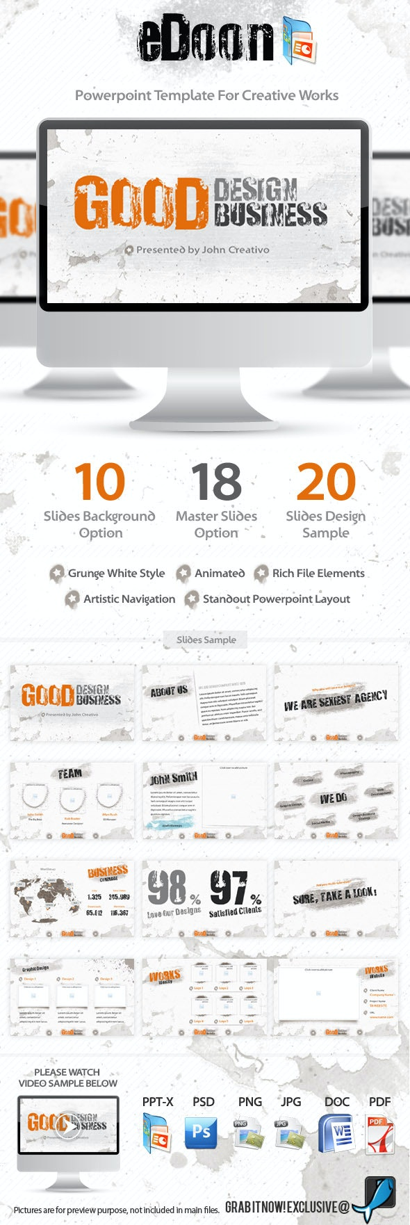 eDoon - Powerpoint Template For Creative Works  - PowerPoint Templates Presentation Templates