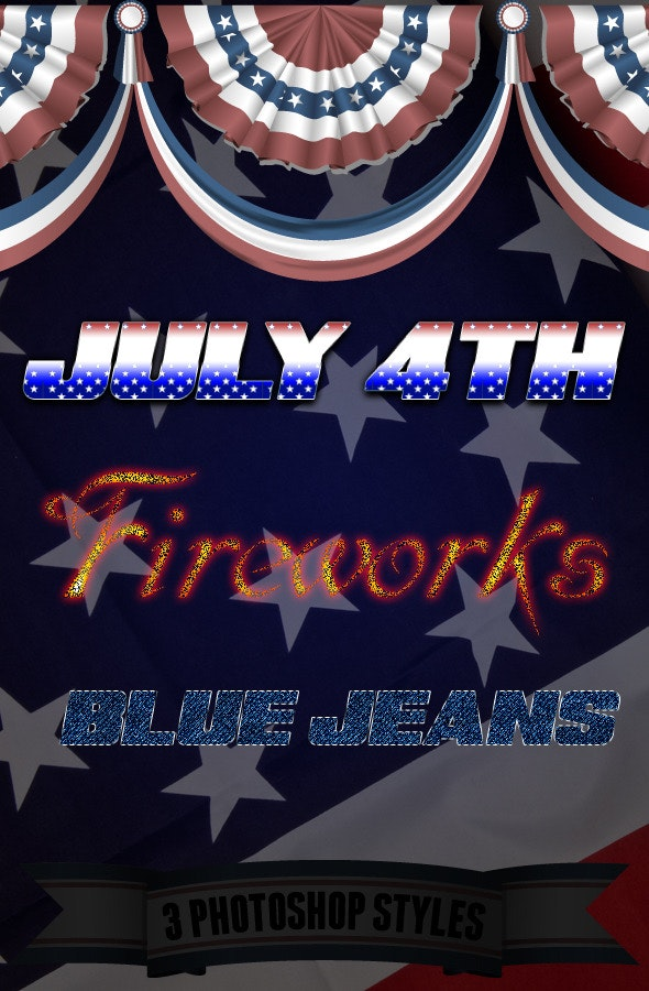 American Flag 4th of July Fireworks Blue Jeans - Text Effects Styles