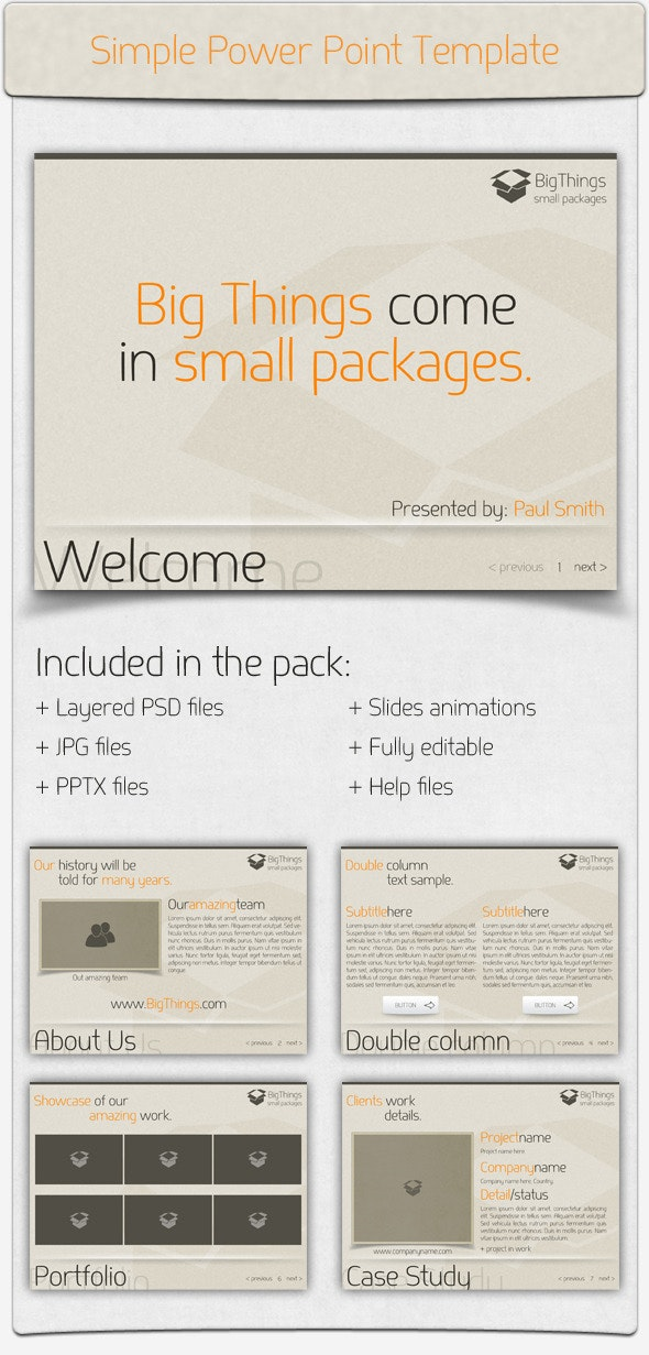 Simple Power Point Presentation - Business PowerPoint Templates