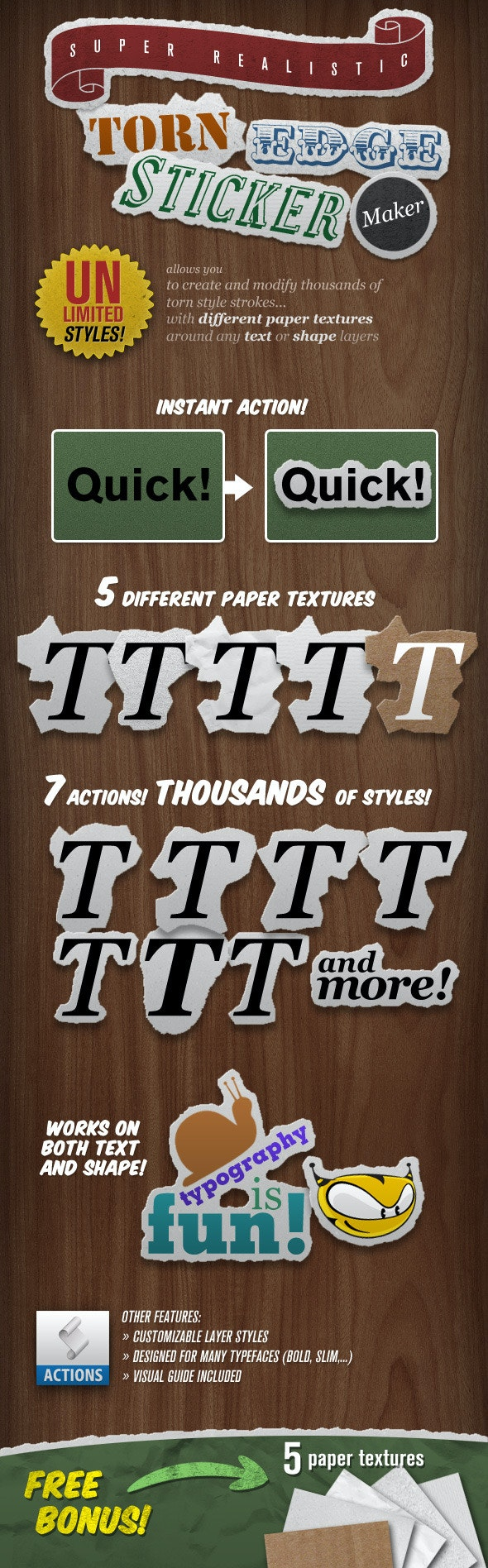 Torn Edge Sticker Maker - Text Effects Actions