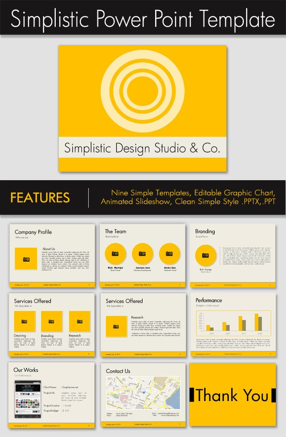 Simplistic Power Point Presentation Template - Business PowerPoint Templates