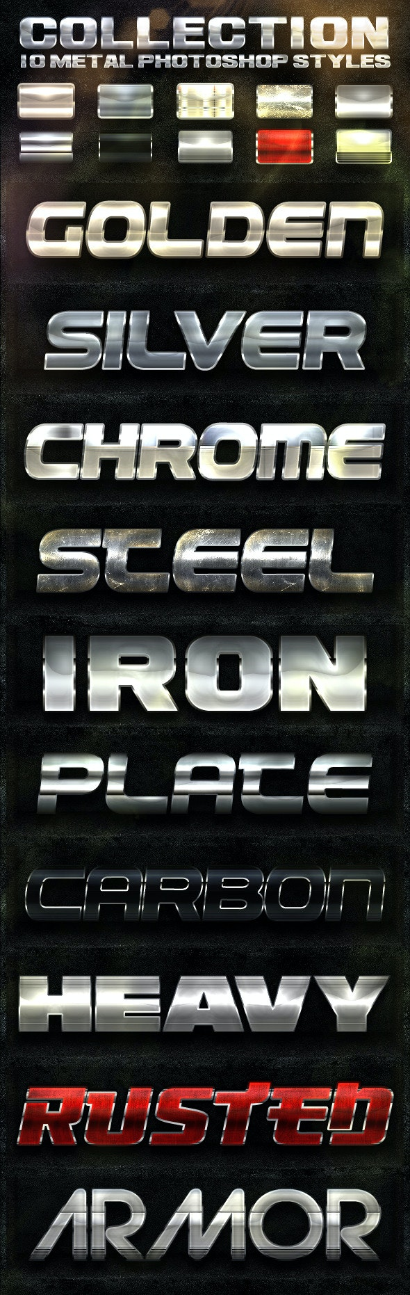 COLLECTION 10 Metal Photoshop Styles - Text Effects Styles