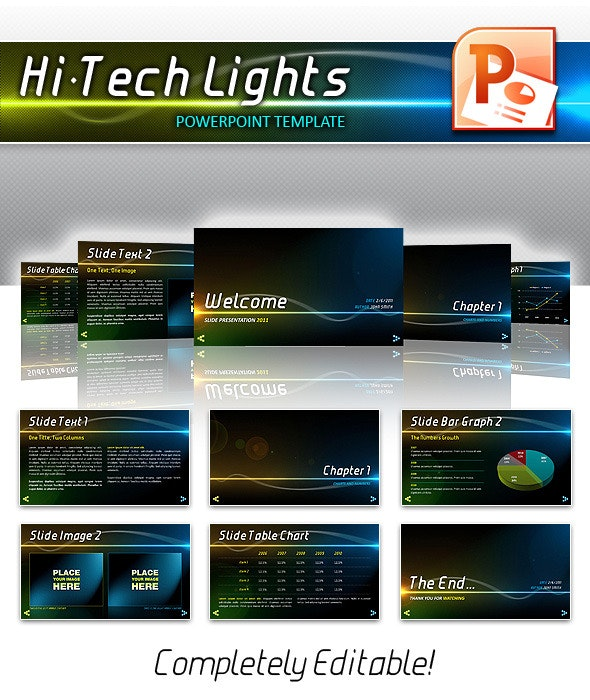 Hi-Tech Lights Powerpoint - PowerPoint Templates Presentation Templates