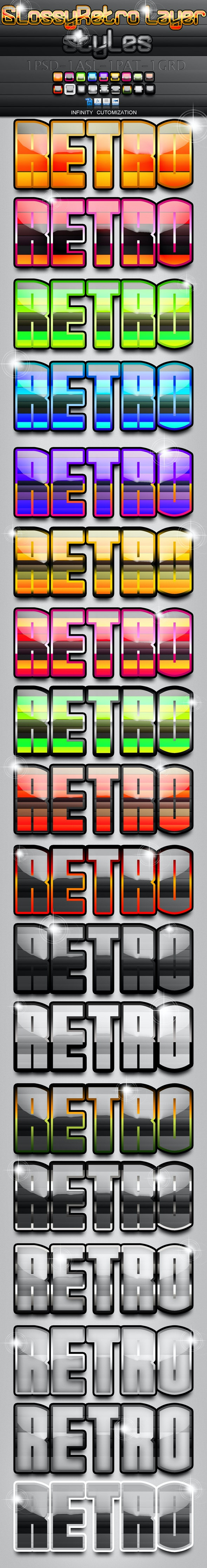 Glossy Retro Layer Styles - Text Effects Styles