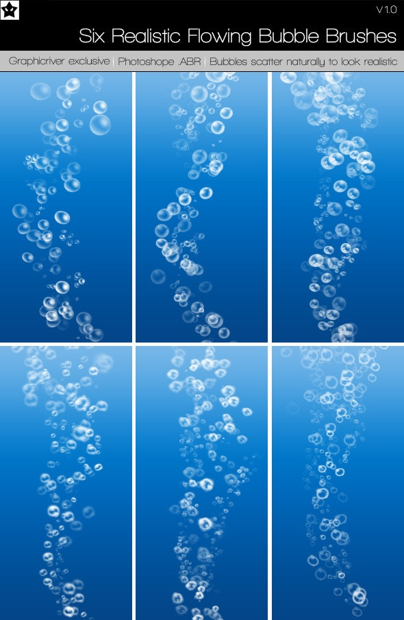 Six Realistic Flowing Bubble Brushes - Texture Brushes