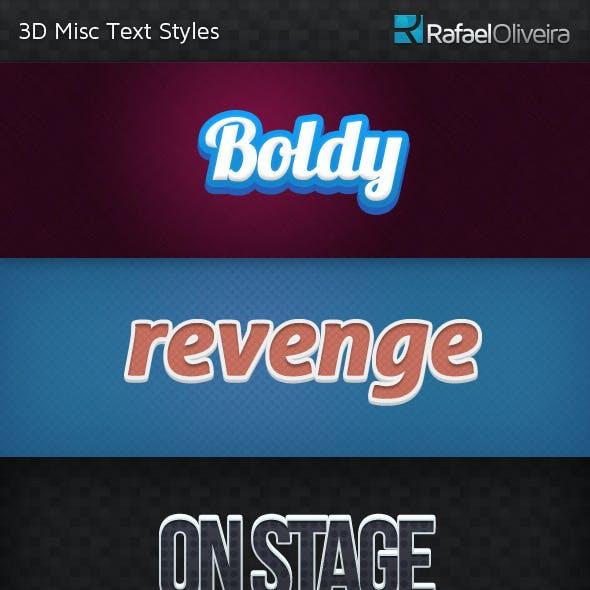 3D Misc Text Styles
