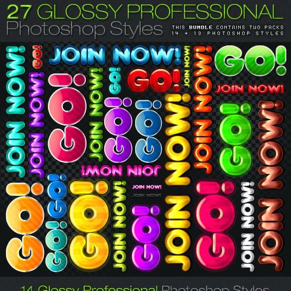 [BUNDLE] 27 Glossy Professional Photoshop Styles