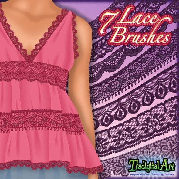 7 Lace Brushes - Flourishes Brushes