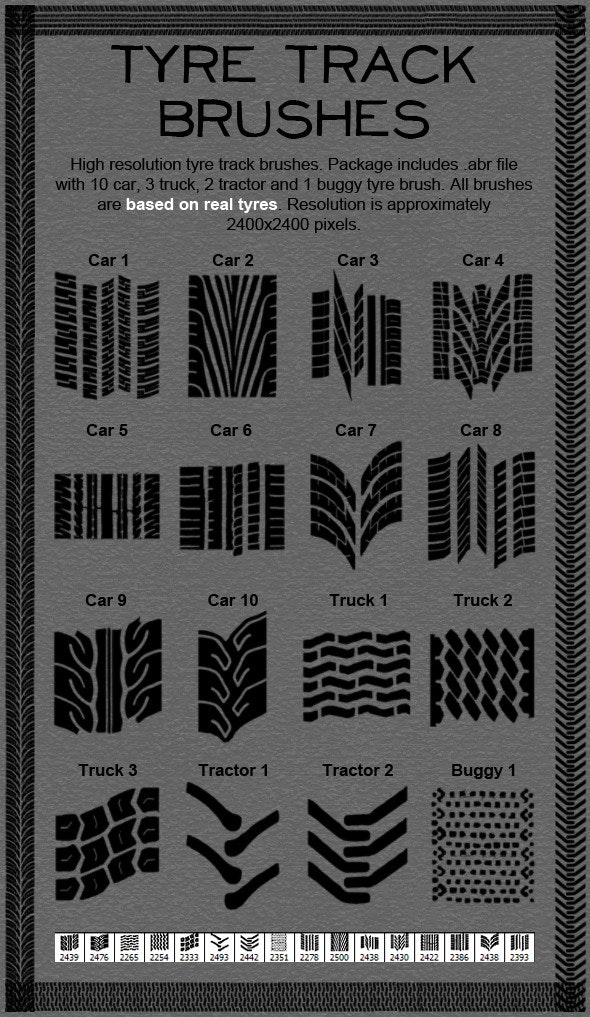 Tire Track Brushes - Techno / Futuristic Brushes