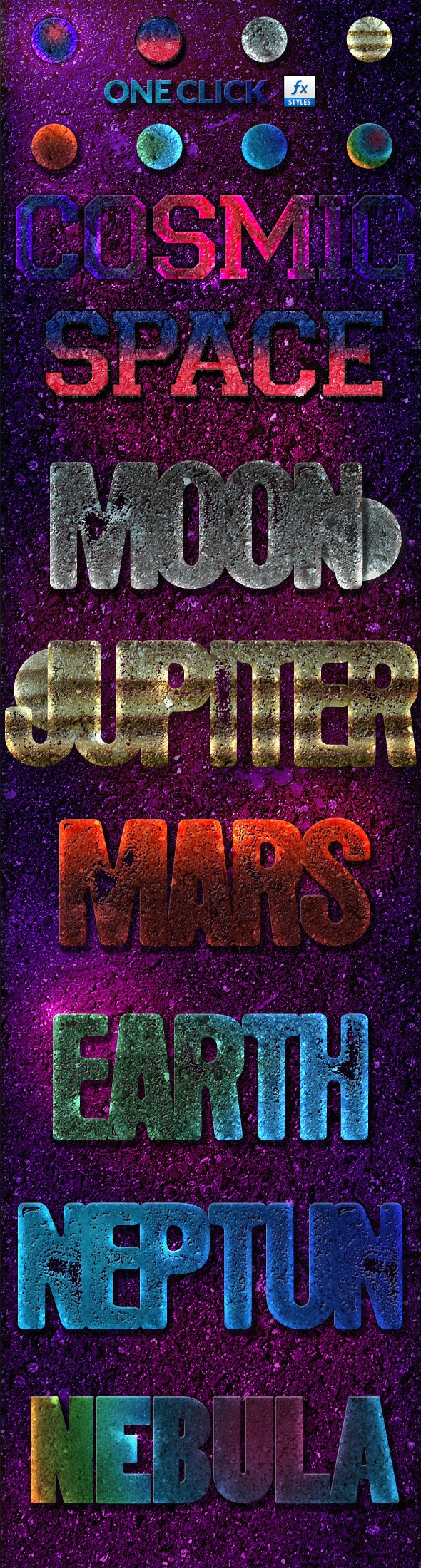 8 Cosmic Photoshop Layer Styles - Text Effects Styles
