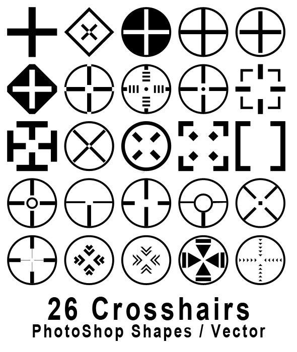 26 Crosshair Shapes for Adobe Photoshop - Symbols Shapes