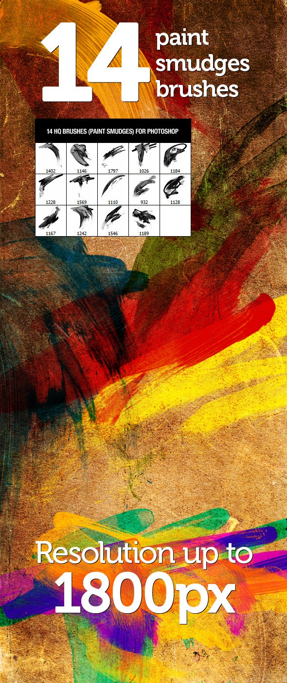 14 Paint Smudges Brushes - Artistic Brushes