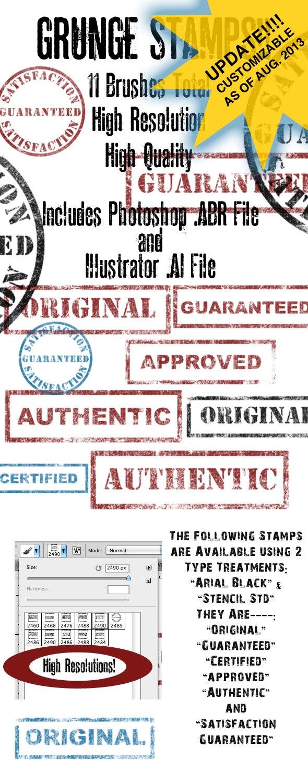 Customizable Grunge Brush/Vector Stamp Set - Vol 1 - Grunge Brushes