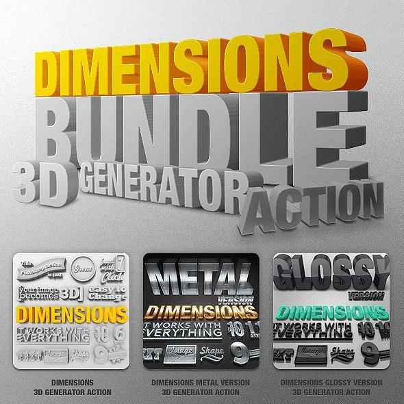 Bundle - Dimensions - 3D Generator Action - Text Effects Actions