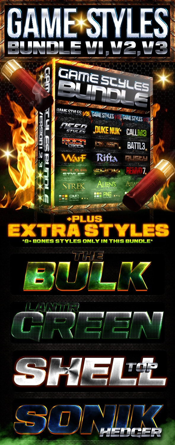 Game Photoshop Style Bundle  - Text Effects Styles