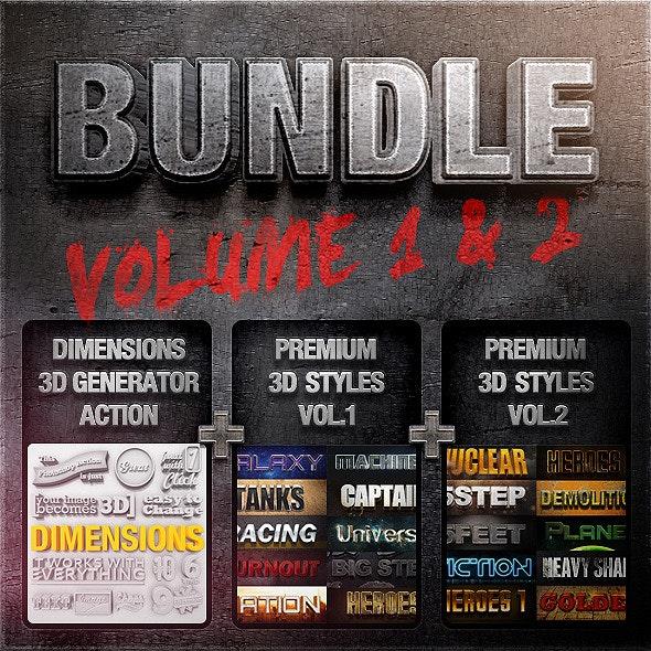 Bundle - Dimensions Premium Styles Vol. 1 & 2 - Text Effects Actions
