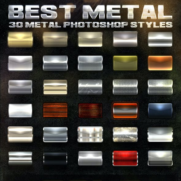 30 Metal Photoshop Styles [Bundle]