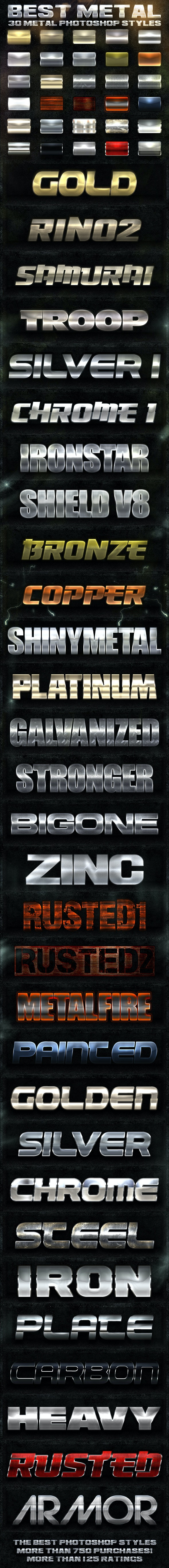 30 Metal Photoshop Styles [Bundle] - Text Effects Styles