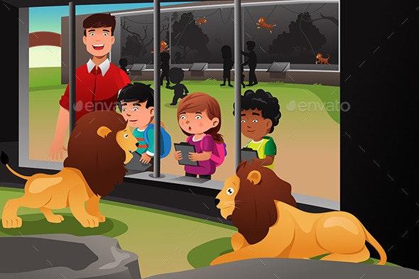 Kids School Field Trip to the Zoo - People Characters