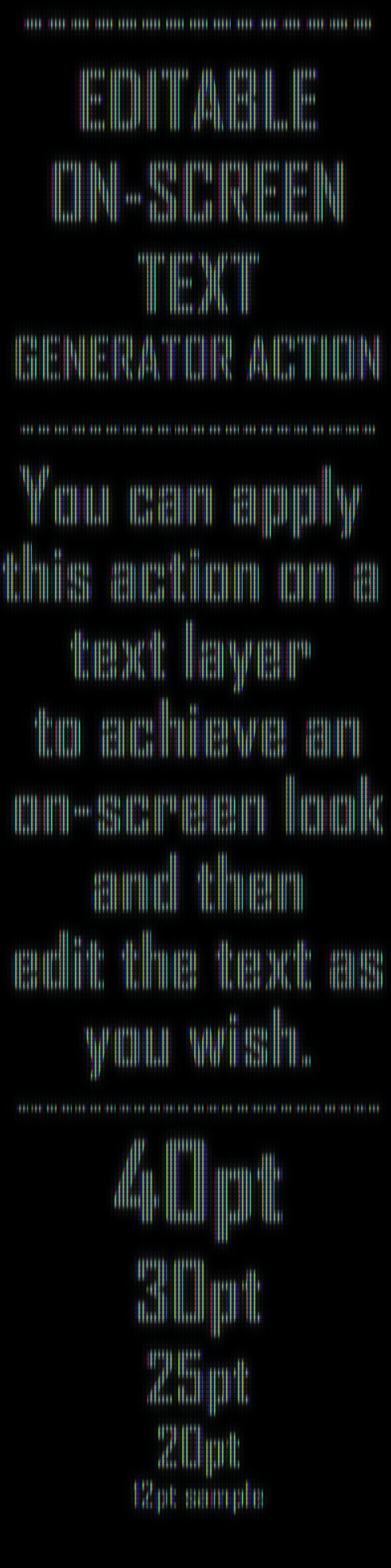 Editable On-Screen Text Effect Generator Action - Photoshop Add-ons