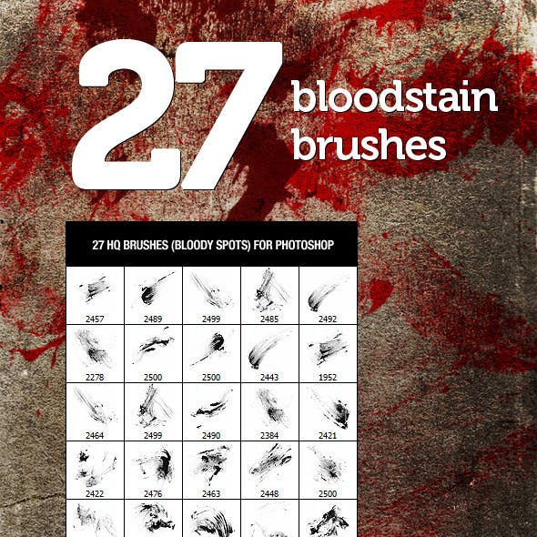 27 Bloodstain Photoshop Brushes