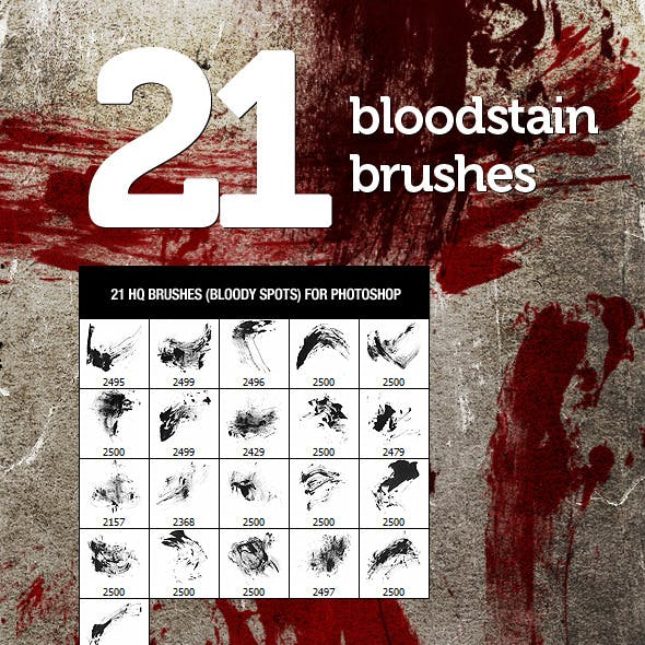 21 Bloodstain Photoshop Brushes