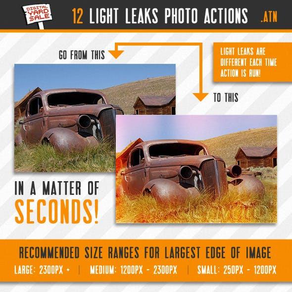 12 Vintage Light Leaks Photo Actions