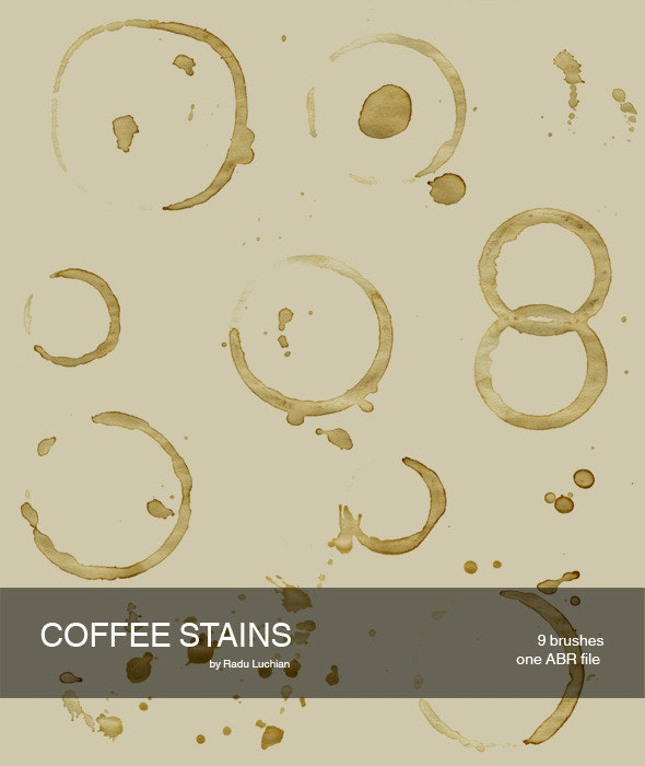 9 Coffee Stain Brushes - Flourishes Brushes