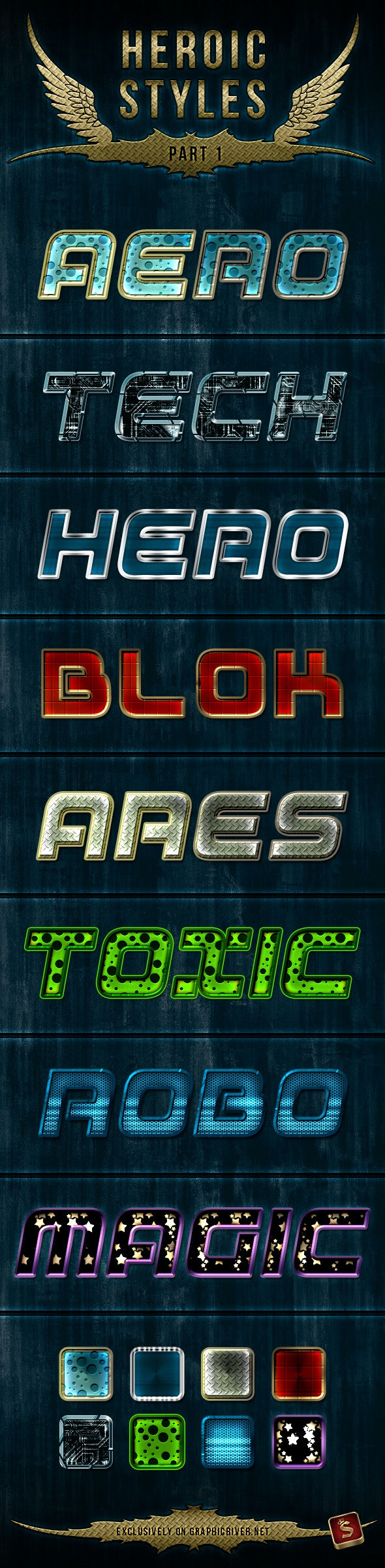 Heroic Photoshop Styles - Text Effects Styles